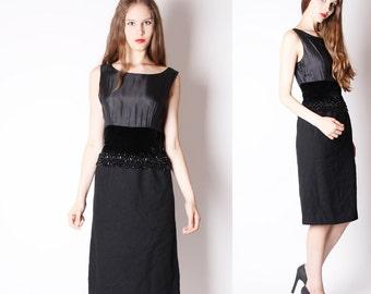 1950s Beaded Dress - Harvey Berin 1950s Dress - Vintage Black  Dress - 1950s Cocktail Dress - Vintage 50s Dress - 2519