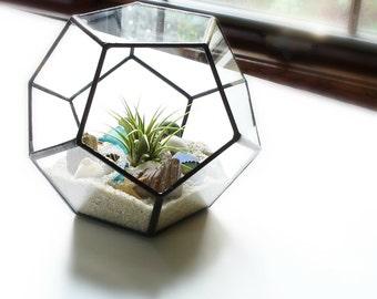 Dodecahedron Terrarium, Glass Geometric Planter, DIY Kit, Round Terrarium, Clear Planter, Handmade Container, Home Decor