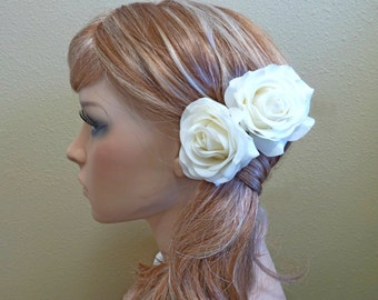 Cream White Rose Hair Piece, 2 Hair Flower Clips / Brooch / Corsage, Petite Real Touch Rose Fascinator