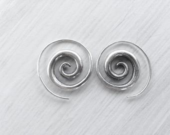 Sterling Silver Swirl Earrings, Boho Earrings, Spiral Silver Hoop Earrings, Everyday Round Gypsy Earrings, Spiral Jewelry, Bohemian Hoops