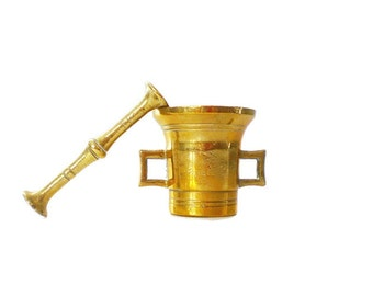 Small Antique Brass Mortar and Pestle Collectible Apothecary Vessel Pharmaceutical Retro Kitchen