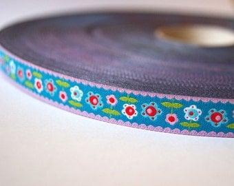 Jacquard Ribbon, Flower Ribbon, Blue Flower Ribbon, Funky Flower Ribbon, Farbenmix Funky Flower Ribbon, Blue Flower Sewing Tape, 1 metre