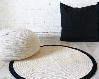 Round Rug floor crochet 90cm