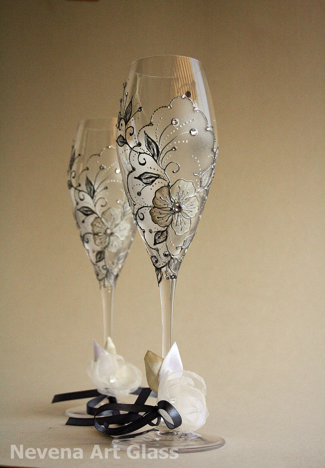crystal glasses hand painted wedding toasting flutes set of 2