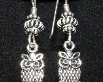 Clearance Sale OWL Earrings Cute Little Owl Bird Charms Silver Owl Earrings Oxidized Sterling Silver Handmade Earrings Animal Bird Jewelry