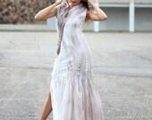 Felted silk maxi dress. Long Seamless Felted Light pecan brown gown, OOAK felted Dress ohtteam