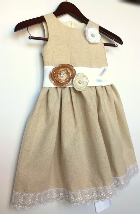 Rustic Cotton and Lace Flower Girl Dress, Size 2T-5T, Sizes 6-14, Wedding, Easter, Birthday, Princess