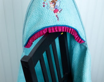 custom hooded towel aqua fairy princess infant toddler child girl gift personalized many colors