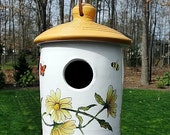 Outdoor Ceramic Birdhouse with Daisies and Butterflies
