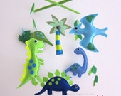 "Baby Mobile - Green Dinos Crib Mobile - ""Ancient Life""  - Handmade Nursery Mobile (Match your bedding)"