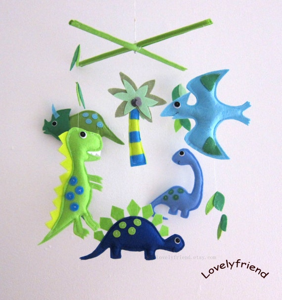 Items Similar To Baby Mobile Green Dinos Crib Mobile