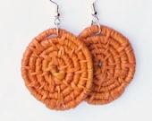 Woven Earrings- Hoop Earrings -Orange Raffia Earrings - fiber earrings -boho jewelry