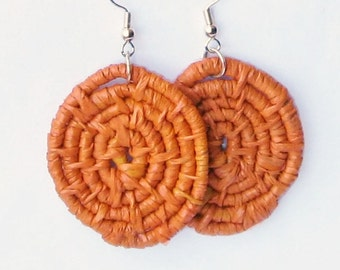 Woven Earrings- Hoop Earrings -Orange Raffia Earrings - fiber earrings -boho jewelry