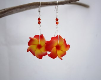Orange Flower Earrings Plumeria Frangipani Floral Earrings Hawaii Jewelry Hawaiian Jewelry Tropical Flower Flower Jewelry Floral Jewelry 019