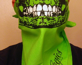 Neon Ganja Green Skull Bandana Face Mask With Glow In The Dark Teeth Grillz dust shield neck warmer scarf wrap gaiter ski snowboard airsoft