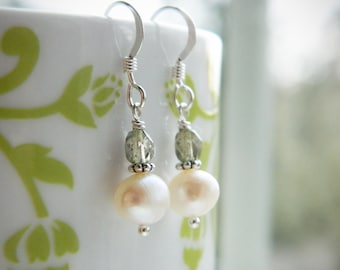 Pale Sage Green Czech Glass and Freshwater Pearl Earrings  by Quintessential Arts