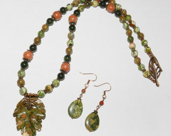 Gorgeous Rhyolite Stone Carved Leaf Necklace and Earring Set,  Autumn Jewelry, One of a Kind, Green ~ Rust ~ Copper