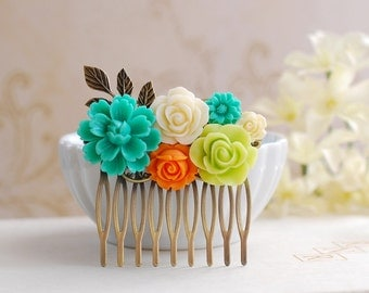 Teal Blue Orange Chartreuse Green Ivory Flowers Hair Comb, Orange Teal Chartreuse Wedding Bridal Hair Accessory, Bridesmaid Hair Comb