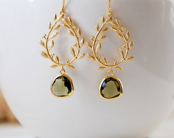 Bridesmaid Gift, Gold Laurel Wreath Dark Olive Glass Teardrop Dangle Earrings, Olivine Wedding Bridal Chandelier Earrings, Gift for her
