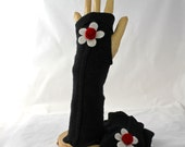 Black Fingerless Gloves Arm Warmers Felted Cashmere Upcycled Extremely Soft Red Rose Flower