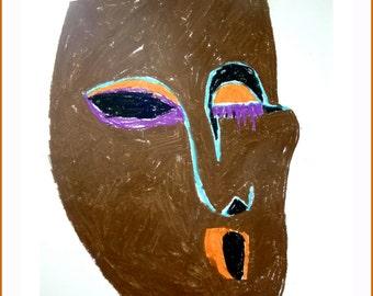 Originele moderne tekening-muur kunst-masker in olie pastel-bruin/oranje tekening - Afrika inspiratie - Home Decor - cadeau voor familie