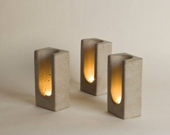 Group of 3 Tealight Totems in Concrete by Plywood Office