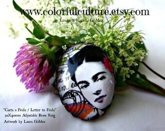 Carta a Frida Letter to Frida- Frida Kahlo Art by Laura Gomez- Adjustable Ring- 30X40mm Small Print from Original Art