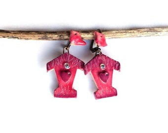 Valentine's gift Birdhouse earrings - red purple Bird and Red Heart, bird house polymer clay earrings, nature inspired artisan made earrings