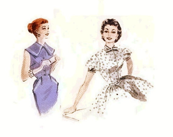 1950s  Dress Pattern Bouffant Skirt Dress Lolita Fitted Bodice Puff Sleeves Full or Slim Skirt Butterick 7684 Bust 32 Vintage Sewing Pattern