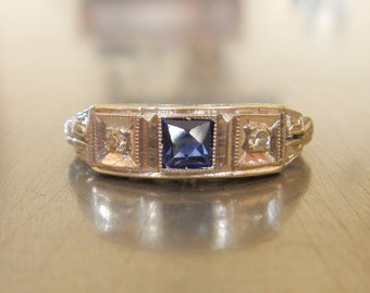 Art Deco Sapphire Diamond Ring- Antique Deco- Edwardian Engagement Ring-1920's Wedding--Stacking Ring-Unique Engagement Ring-Downton Abbey