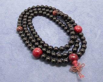 Mala Beads 108 Beaded Necklace Mens Inspirational Jewelry Spiritual Buddhist Meditation Prayer Black Onyx Gifts for Yogi Wood Bead Tiger Eye