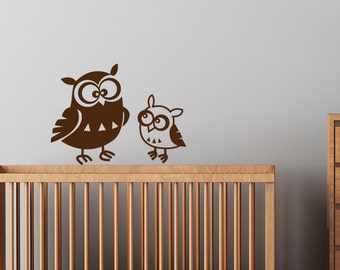 Wall Decal - 2 cute Owls removable matte vinyl Decal FREE US and Canada Shipping