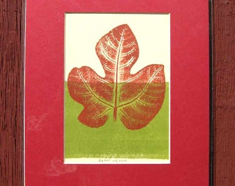 "Fig leaf print II, hand-pulled, direct relief print of fresh fig leaf, original botanical art, 8"" x 10"" red and green ink, red mat"