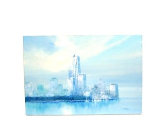 Vintage Painting Mid century Modern Wall Art Waterfront City Skyline 1960s Large Blue Original Signed Artwork