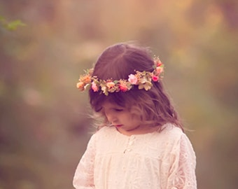 dried Flower girl Halo Woodland Bridal Floral crown fairy Accessories Peach Coral hair wreath circlet champagne headpiece artificial circlet
