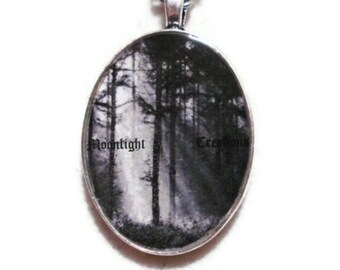 Black Forest Necklace Woodland Pendant Jewelry Black And White