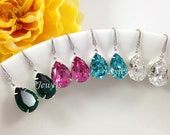 10% OFF Set of 8 Pairs Bridesmaids Swarovski Crystal Earrings Clear White Rose Pink Light Turquoise Emerald Green