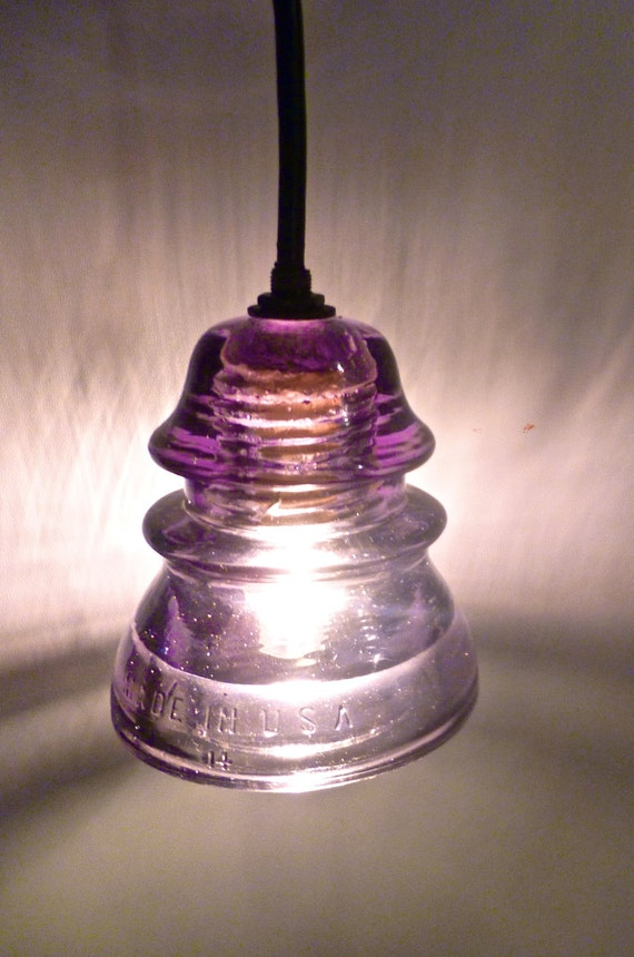 Items similar to new antique rare amethyst insulator for Antique insulator pendant lights