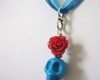 Red Rose Blue Day Of The Dead Necklace Sugar Skull