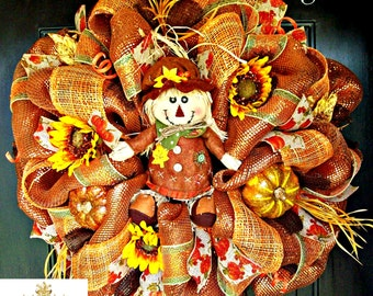 Scarecrow Fall Mesh Wreath