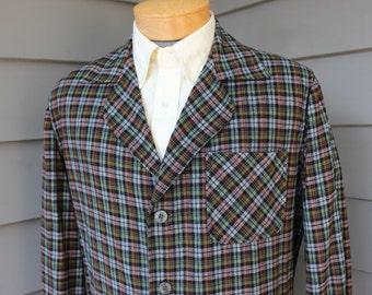 vintage 50's - 60's -Arrow- 'Arrow Jac' Flannel sport coat. Micro plaid - Wool / Nylon -Sanforlan- blend. Medium