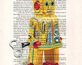 Illustration Posters Giclee Prints Mixed Media Portrait Drawing Art Acrylic Painting Holiday Decor Gifts: Robot - 3