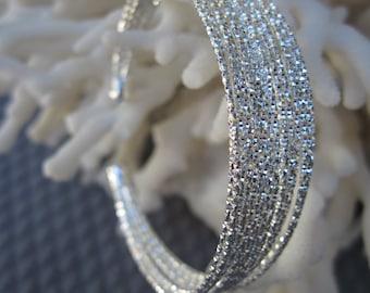 Diamond Cut Sun Catching Sterling Silver Wire Cuff Bracelet