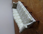 Beautiful vintage miniature mint and cream dollhouse sofa with ornate design