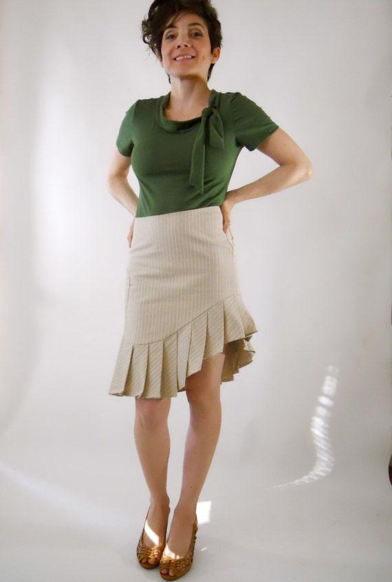ON SALE Pencil Skirt Asymmetrical Pleated beige skirt tailored skirt ruffle skirt neutral skirt dancer skirt secretary skirt skirts high low
