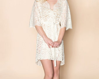 Ready to ship - Elizabeth Scallop Cotton floral Lace Bridal getting ready Robe in ivory
