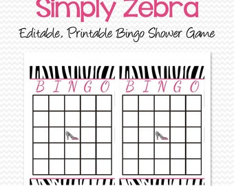 Zebra Print Bridal Shower Bingo Cards, Shower Game, Party Supplies, Black and White, Hot Pink  -- Printable File, Instant Download