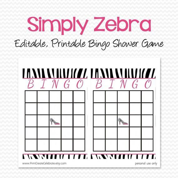 Zebra Print Bridal Shower Bingo Cards, Shower Game, Party Supplies ...