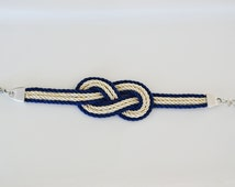 Nautical knot, Infinity Knot, Love Knot, Sailors Knot bracelet, Bridesmaid Gift in White & Blue cord