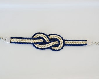Nautical Knot Bracelet, Sailors Knot Bracelet, Silk cord knot bracelet, Infinity Love Knot, Bridesmaid Gift in White & Blue